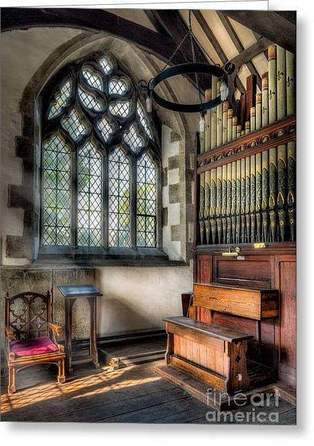 Religious Digital Greeting Cards - Chapel Organ Greeting Card by Adrian Evans