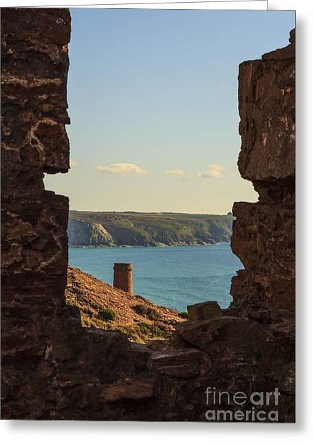 Surfing Porthtowan Greeting Cards - Chapel Porth Cornwall Greeting Card by Brian Roscorla
