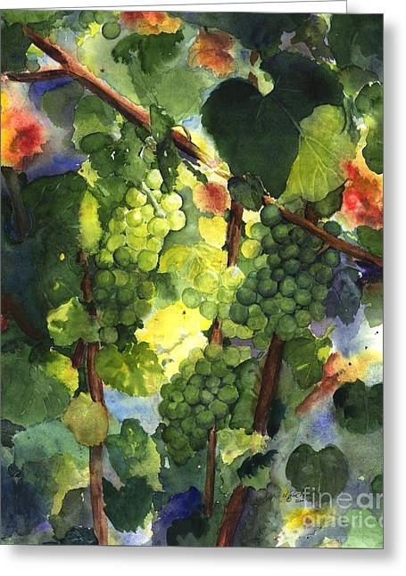 Fruit On The Vine Greeting Cards - Chardonnay au Soliel Greeting Card by Maria Hunt