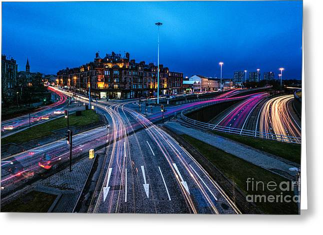 Sunset Prints Greeting Cards - Charing Cross Glasgow Greeting Card by John Farnan