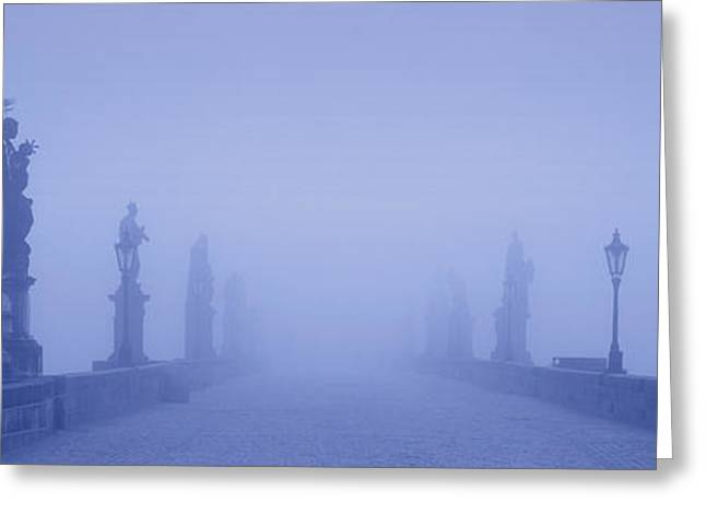 Eerie Greeting Cards - Charles Bridge In Fog, Prague, Czech Greeting Card by Panoramic Images