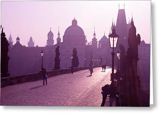 Vague Greeting Cards - Charles Bridge Moldau River Prague Greeting Card by Panoramic Images