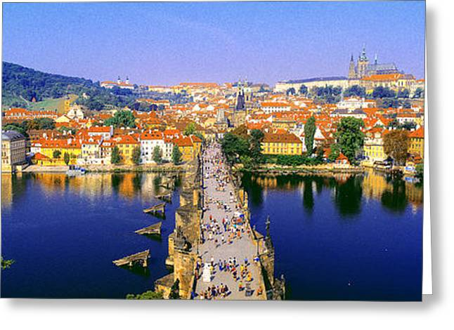 Hazy Days Greeting Cards - Charles Bridge, Prague, Czech Republic Greeting Card by Panoramic Images
