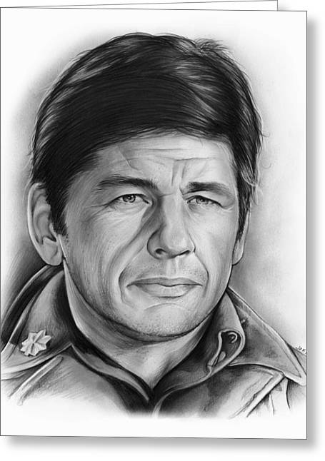 Tough Guys Greeting Cards - Charles Bronson Greeting Card by Greg Joens