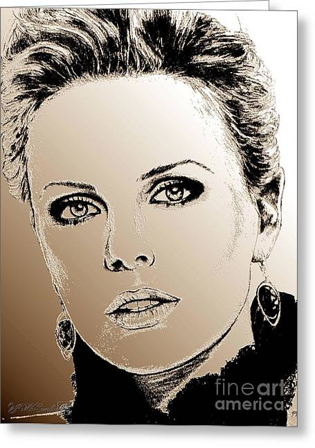 Award Mixed Media Greeting Cards - Charlize Theron in 2008 Greeting Card by J McCombie