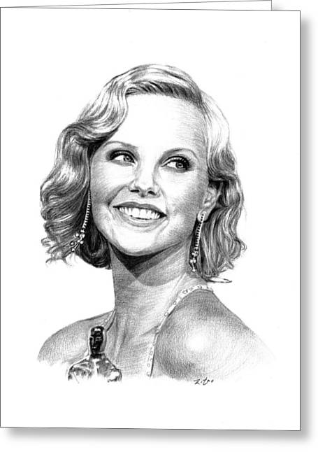 Charlize Theron Greeting Cards - Charlize Theron Greeting Card by Lou Ortiz