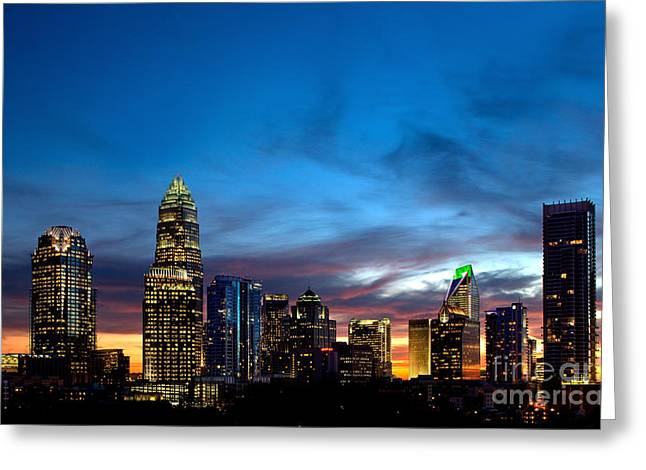 Charlotte Nc Prints Greeting Cards - Charlotte NC downtown at dusk Greeting Card by Patrick Schneider