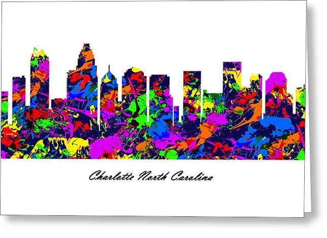 Charlotte Fine Art Greeting Cards - Charlotte North Carolina Paint Splatter Skyline Greeting Card by Gregory Murray
