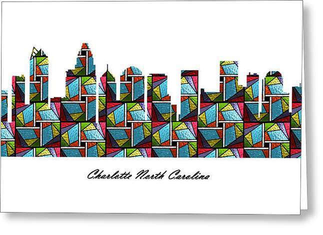 Charlotte Homes Greeting Cards - Charlotte North Carolina Stained Glass Skyline Greeting Card by Gregory Murray