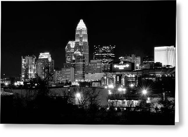 Downtown Charlotte Nc Greeting Cards - Charlotte Panoramic in Black and White Greeting Card by Frozen in Time Fine Art Photography