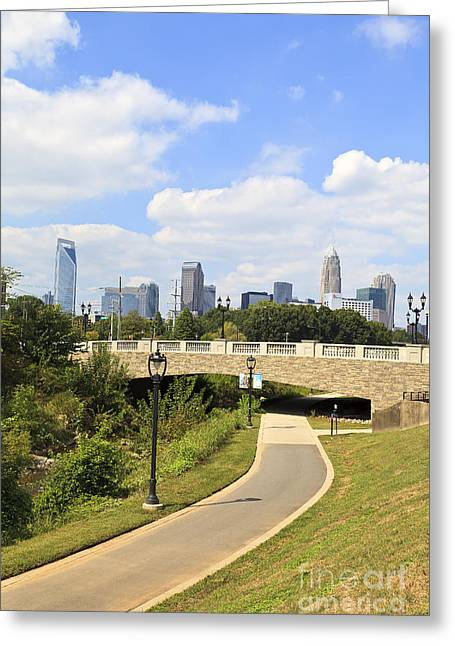 Uptown Rooftop Greeting Cards - Charlotte Skyline from Little Sugar Creek Greenway Greeting Card by Jill Lang