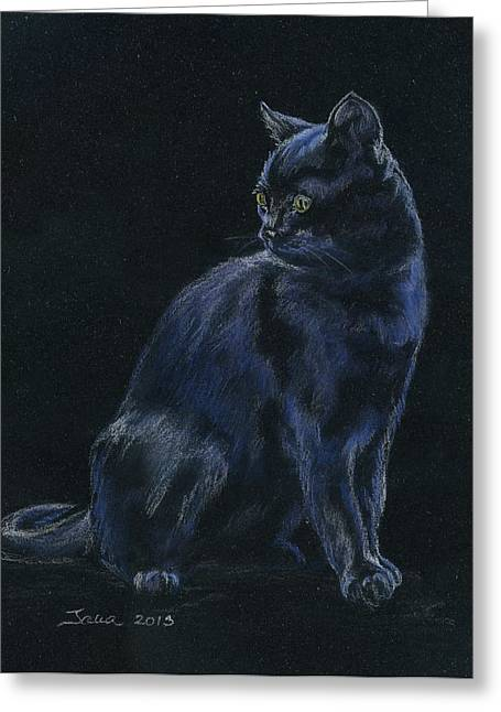 Kitten Pastels Greeting Cards - Chat Noir Greeting Card by Jana Goode