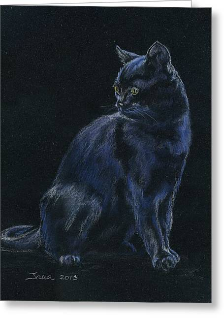 Feline Pastels Greeting Cards - Chat Noir Greeting Card by Jana Goode