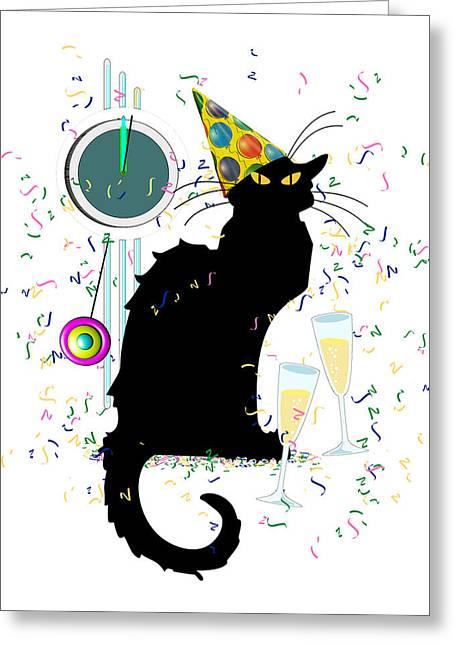 Spoof Greeting Cards - Chat Noir New Years Party Countdown Greeting Card by Gravityx9  Designs
