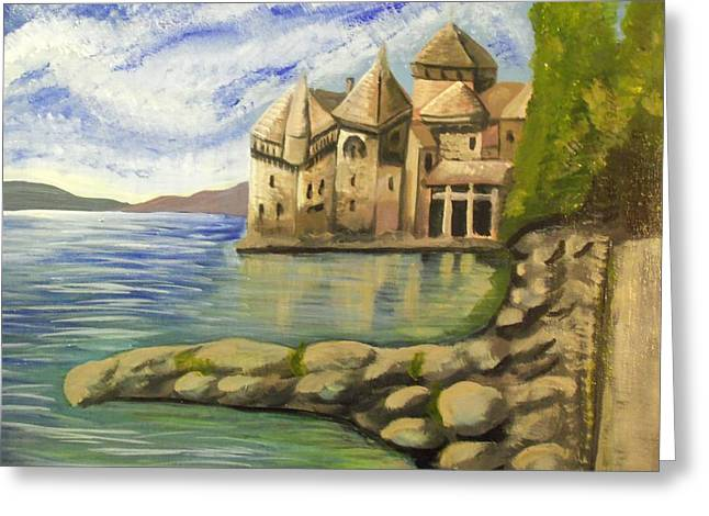 Chillon Greeting Cards - Chateau Chillon Switzerland Greeting Card by Christine McNulty