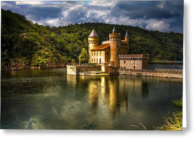 Chateau De La Roche Greeting Card by Debra and Dave Vanderlaan