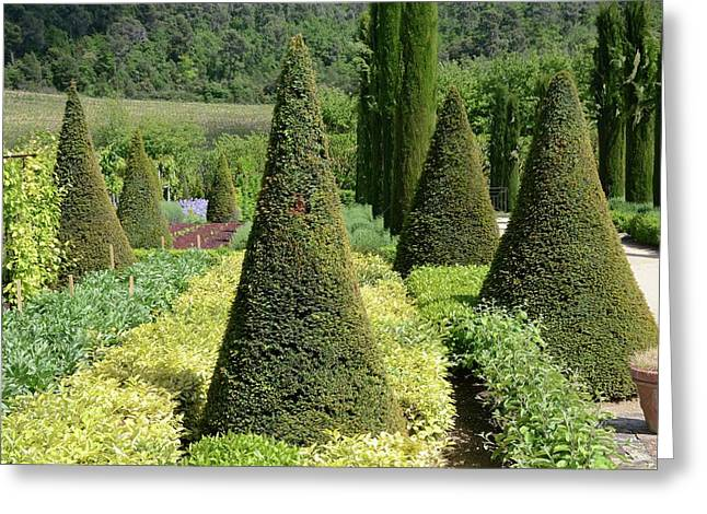 Chateau Garden Greeting Card by Chris Hellier