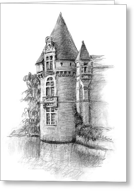 Residential Drawings Greeting Cards - Chateau Tower Greeting Card by Sarah Parks
