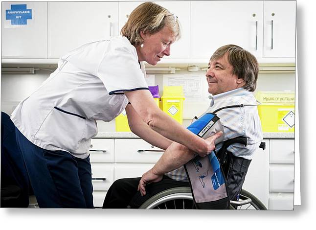 Check Up With Disabled Man Greeting Card by Jim Varney