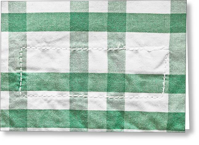 Patch Greeting Cards - Checked cotton Greeting Card by Tom Gowanlock