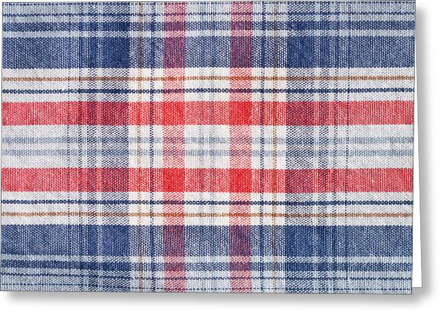 Plaid Shirt Greeting Cards - Checked material Greeting Card by Tom Gowanlock