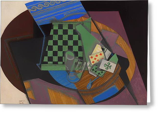 Strategy Paintings Greeting Cards - Checkerboard and Playing Cards Greeting Card by Juan Gris