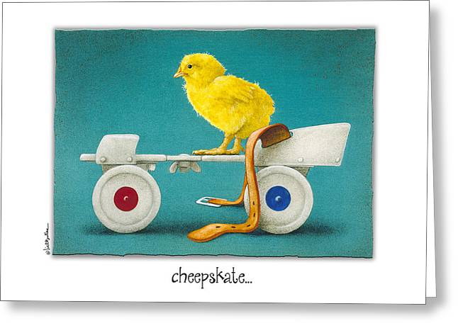 Roller Skates Paintings Greeting Cards - Cheepskate... Greeting Card by Will Bullas