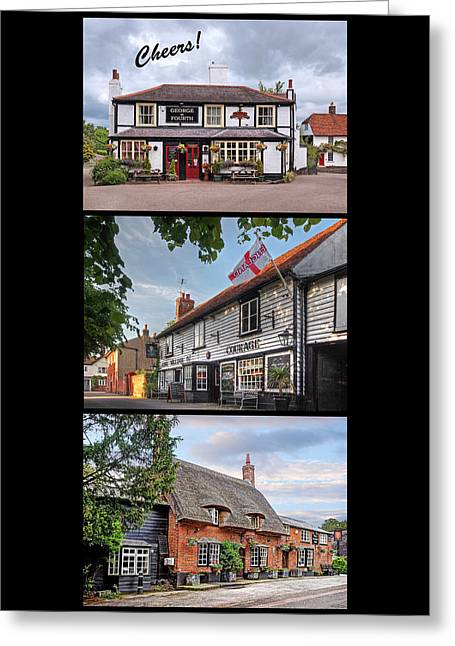 Old Inns Greeting Cards - Cheers - Eat Drink and Be Merry - 3 Pubs Greeting Card by Gill Billington