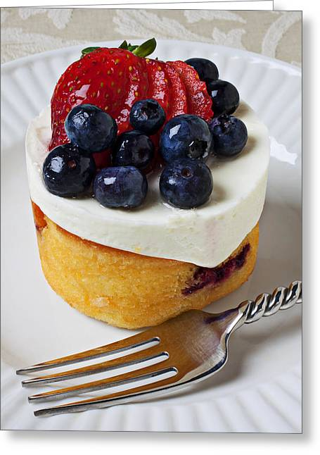 Topping Greeting Cards - Cheese cream cake with fruit Greeting Card by Garry Gay