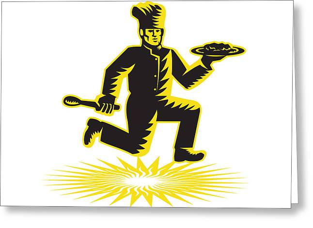 Serve Digital Art Greeting Cards - Chef Cook Serve Plate Running Retro Greeting Card by Aloysius Patrimonio