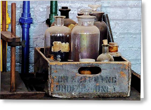 Chemist Greeting Cards - Chemist - Bottles of Chemicals in a Wooden Box Greeting Card by Susan Savad