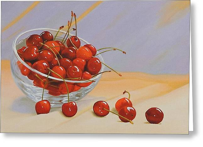 Lepercq Veronique Greeting Cards - Cherries Bowl Greeting Card by Lepercq Veronique