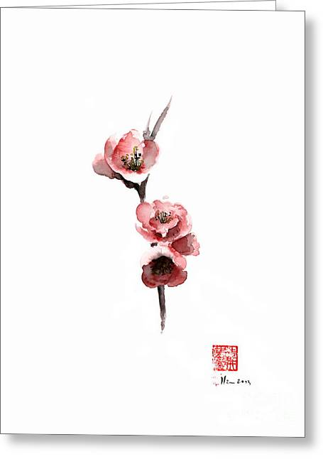 Cherry Blossom Sakura  Pink Tree Delicate White Flower Flowers Branch Watercolor Painting Greeting Card by Johana Szmerdt