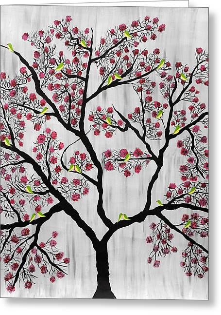 Tree Roots Paintings Greeting Cards - Cherry Blossom Greeting Card by Sumit Mehndiratta
