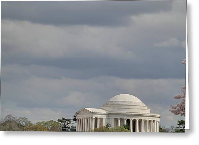 Cherry Blossoms with Jefferson Memorial - Washington DC - 01139 Greeting Card by DC Photographer