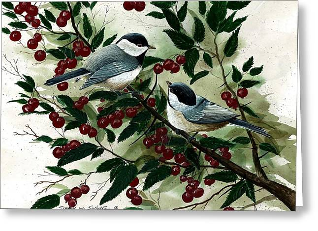 Cherry Picking Time Greeting Card by Steven Schultz