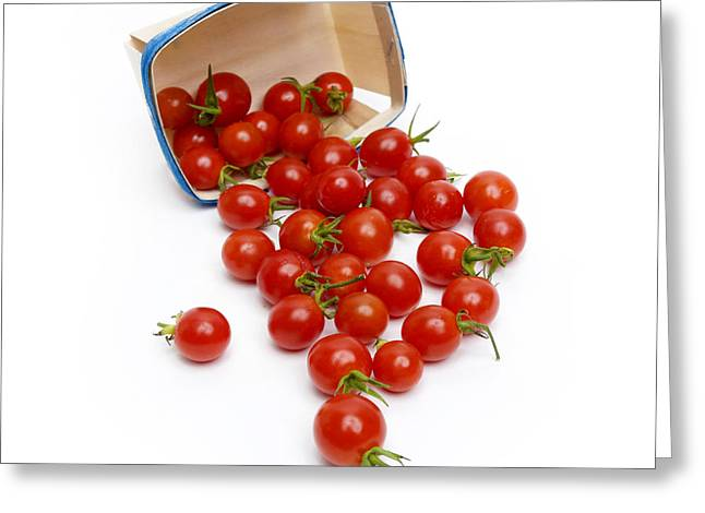 Large Group Of Objects Greeting Cards - Cherry Tomatoes Greeting Card by Bernard Jaubert