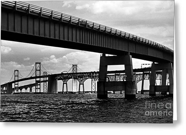 Chesapeake Bay Bridge  Greeting Card by Skip Willits