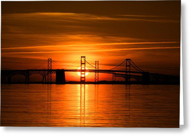 Chesapeake Bay Bridge Greeting Cards - Chesapeake Bay Bridge Sunset Greeting Card by Mark  Dignen