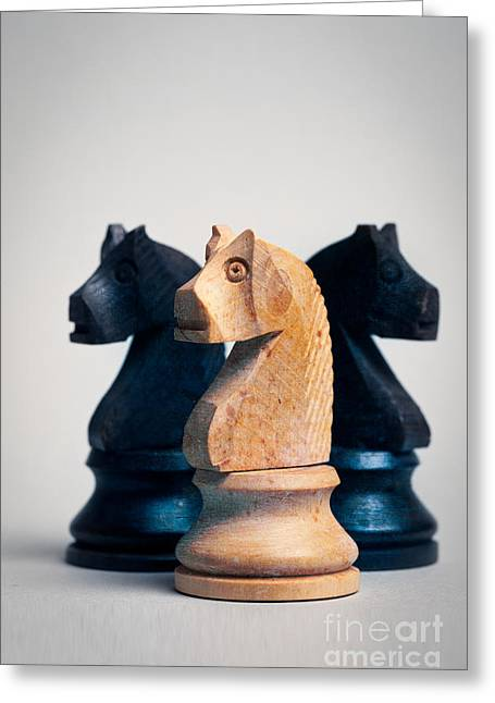 Chess Knights Greeting Card by Mark Fearon