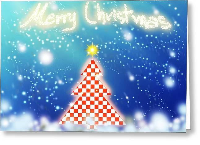 Chic Greeting Cards - Chess Style Christmas Tree Greeting Card by Atiketta Sangasaeng