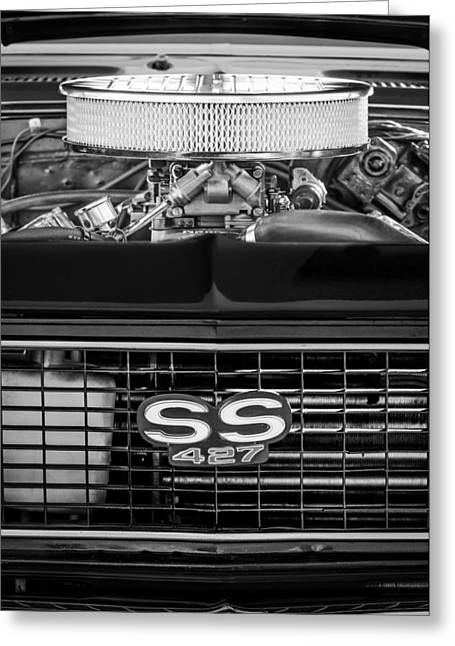 Chevrolet Photographs Greeting Cards - Chevrolet Camaro SS 427 Grille Emblem - Engine Greeting Card by Jill Reger