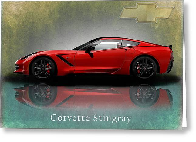 Muscles Greeting Cards - Chevrolet Corvette Stingray Greeting Card by Mark Rogan