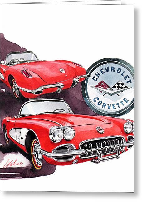 1st Greeting Cards - Chevrolet Corvette Greeting Card by Yoshiharu Miyakawa