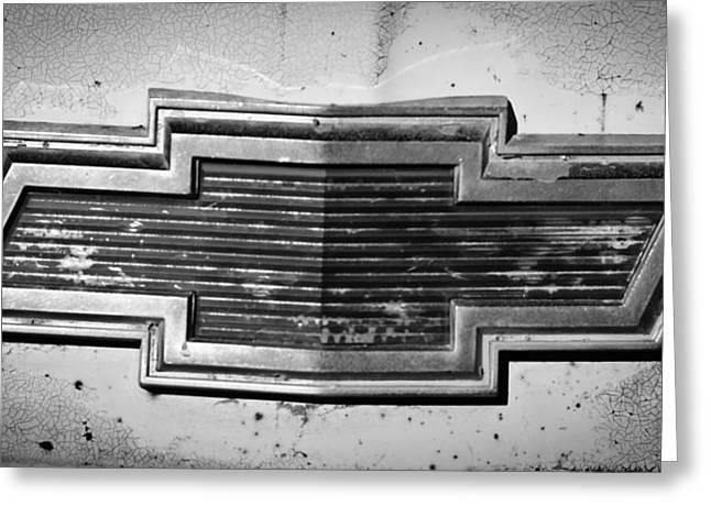 Rusty Car Greeting Cards - Chevrolet Emblem Greeting Card by Jill Reger