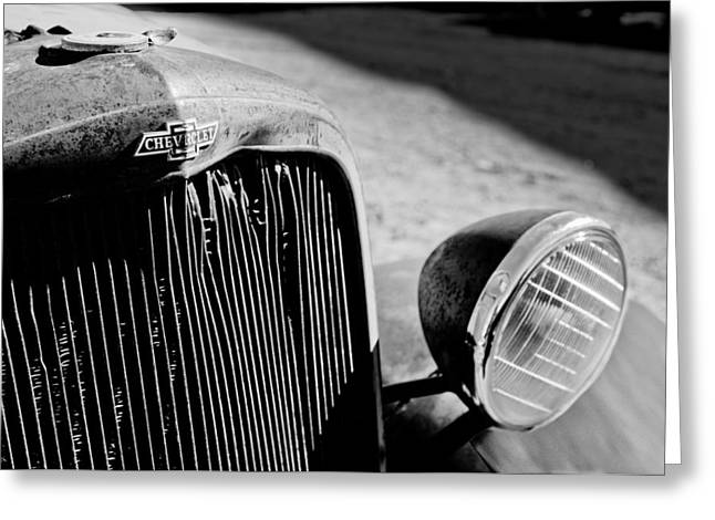 Rusty Car Greeting Cards - Chevrolet Grille Emblem - Head Light Greeting Card by Jill Reger