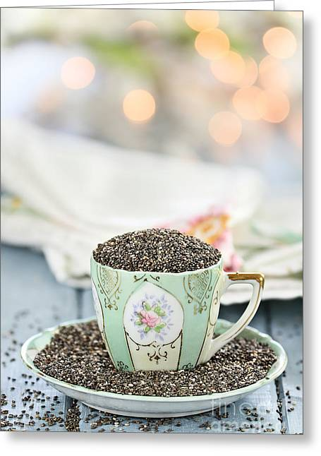 Cup Overflows Greeting Cards - Chia Seeds Greeting Card by Stephanie Frey