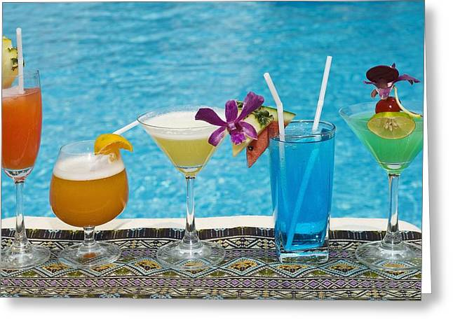 Table Cloth Greeting Cards - Chiang Mai, Thailand Tropical Drinks By Greeting Card by Stuart Corlett