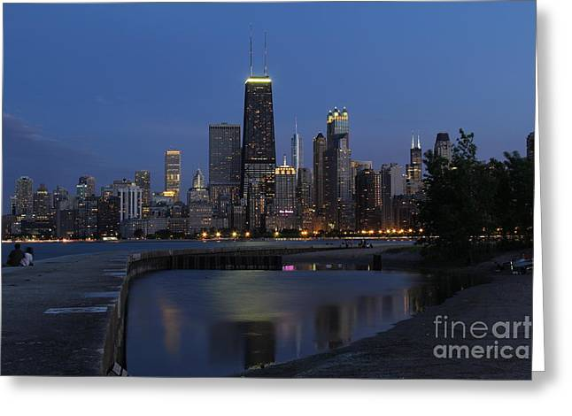 Beach At Night Greeting Cards - Chicago north side at dusk Greeting Card by Michael Paskvan