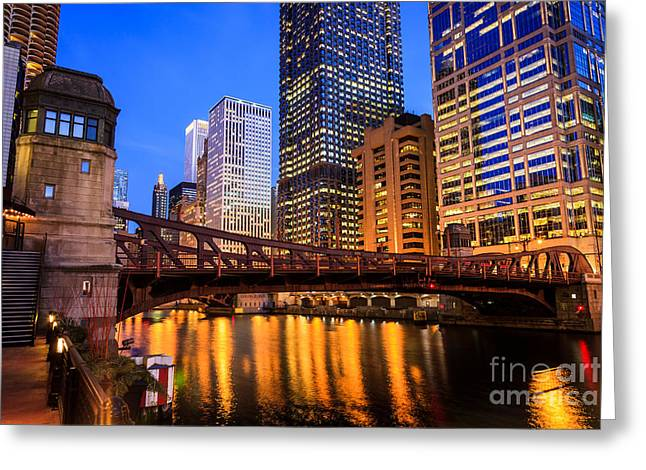 Riverfront Greeting Cards - Chicago at Night at Clark Street Bridge Greeting Card by Paul Velgos